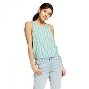 Universal Thread Green Striped Tie Waist Tank Top
